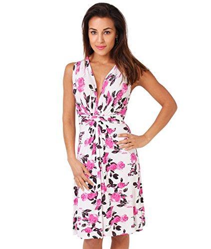 KRISP Mulheres Casual Rose Knot Frente V Neck Summer Dress Plus Size