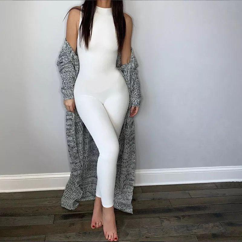 donne della tuta elastico del hight tutine sportiva casuale idoneità senza maniche con cerniera activewear magro vestito estivo