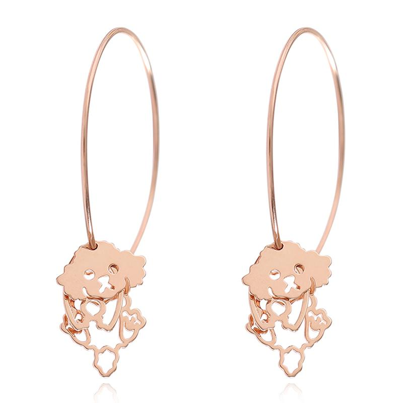 S925 Silver Jewelry Rose Gold Color Dog Hoop Earrings For Girls Big Circle Puppy Animal Pendant Statement Ear Jewelry