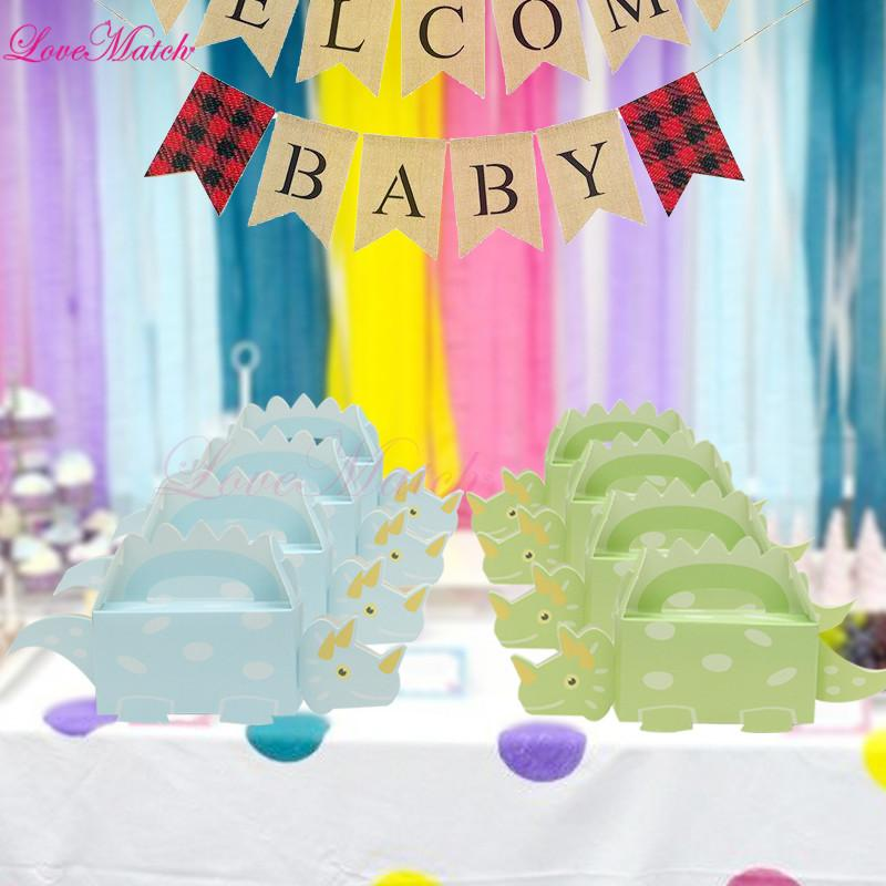50 piezas de arena Cajas de regalo de dinosaurio lindas Caja de dulces Decoraciones de fiesta de cumpleaños y cajas de favor de niños para regalo de Baby Shower