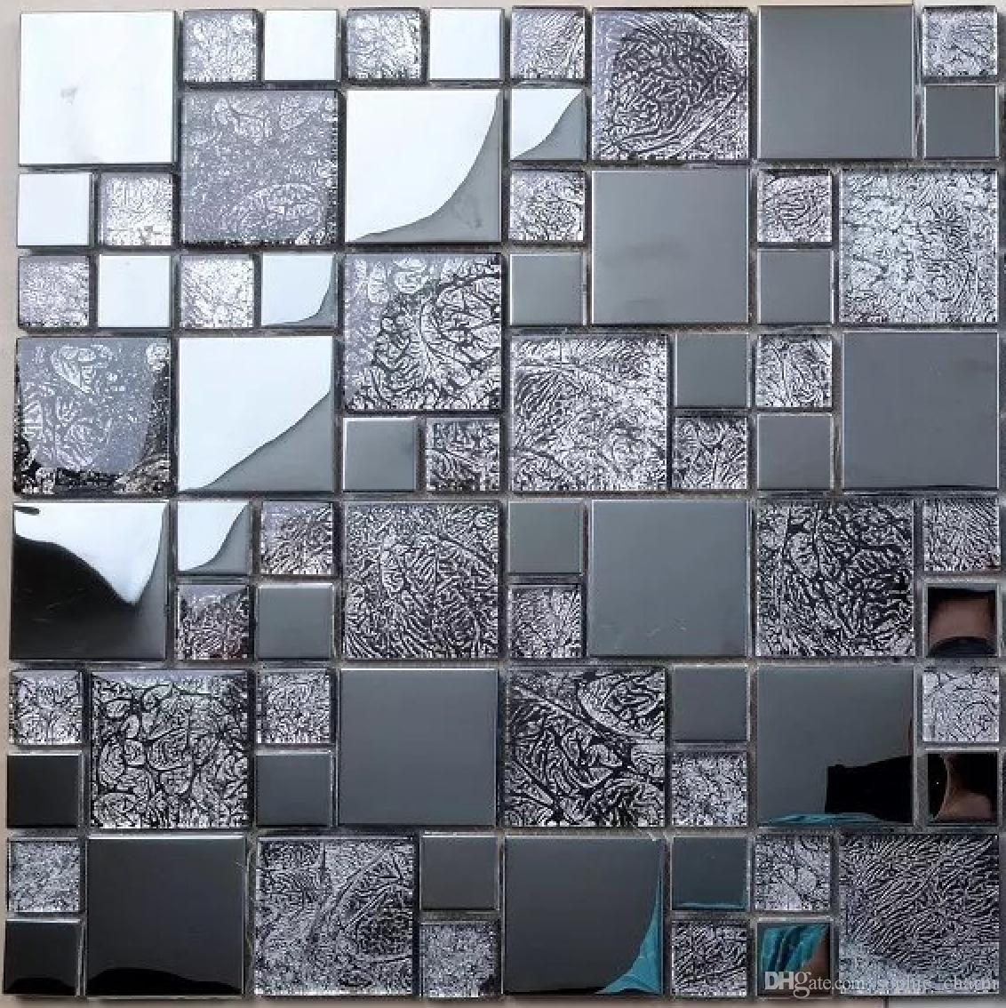 2019 Gray Glass Metal Mosaic Kitchen Backsplash Tile SSMT406 Stainless  Steel Mosaic Wall Tile From Sophie_charm, $14.87 | DHgate.Com