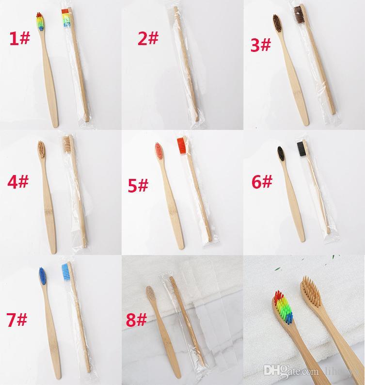 8 Farben gehen Bambuszahnbürste-Großhandelsumwelt-hölzerne Regenbogen-Bambuszahnbürste-Mundpflege-weiche Borste frei DHLdc692 voran