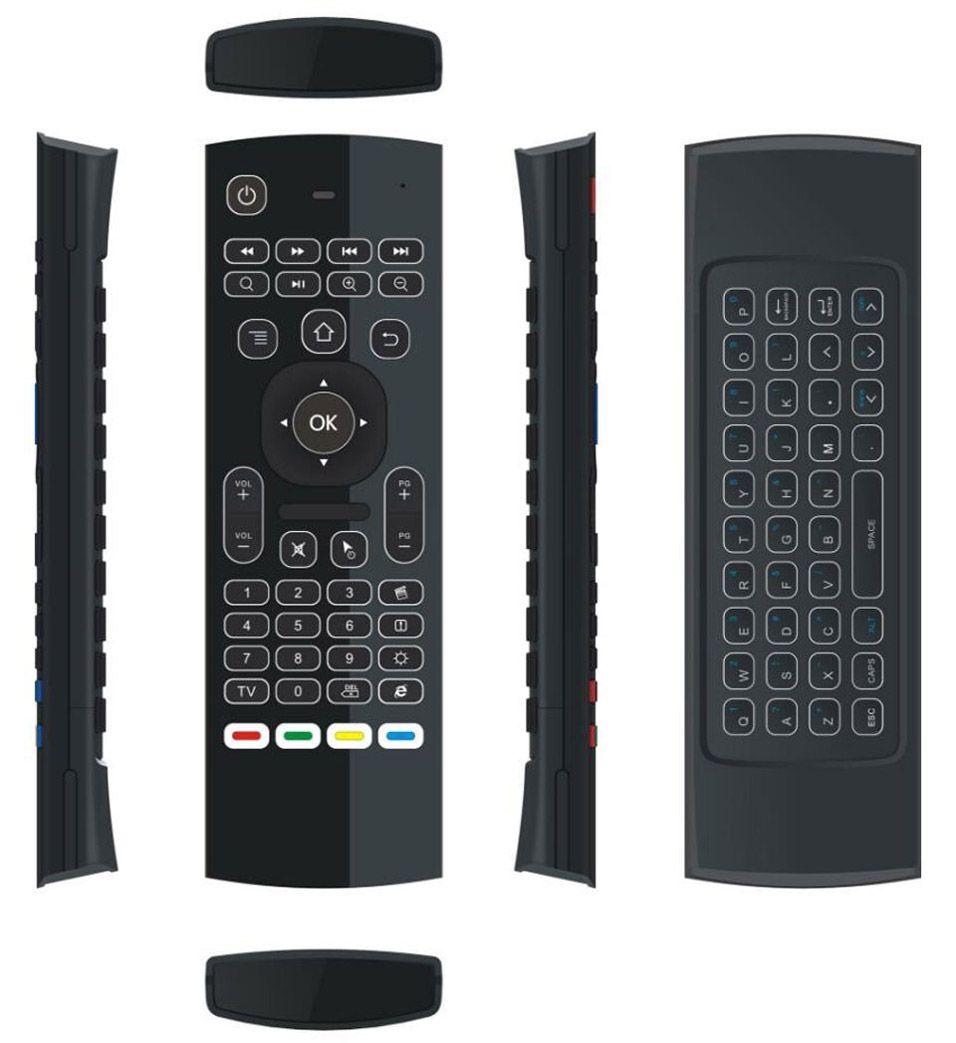 10pcs 안 드 로이드 TV 박스에 대 한 MX3 T3 백라이트 아니 마이크 미니 2.4 ghz 무선 자이 스코프 키보드 공기 마우스 원격 G- 센서