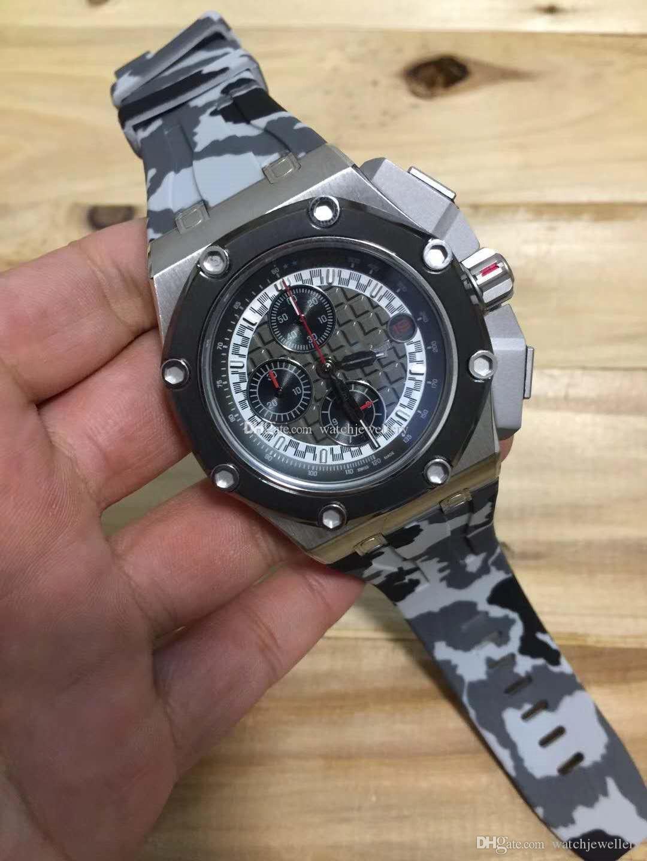 새로운 도착 패션 탑 고무 스트랩 캐주얼 손목 시계 쿼츠 시계 44MM 5COLORS 스포츠 남성 시계 남성 시계