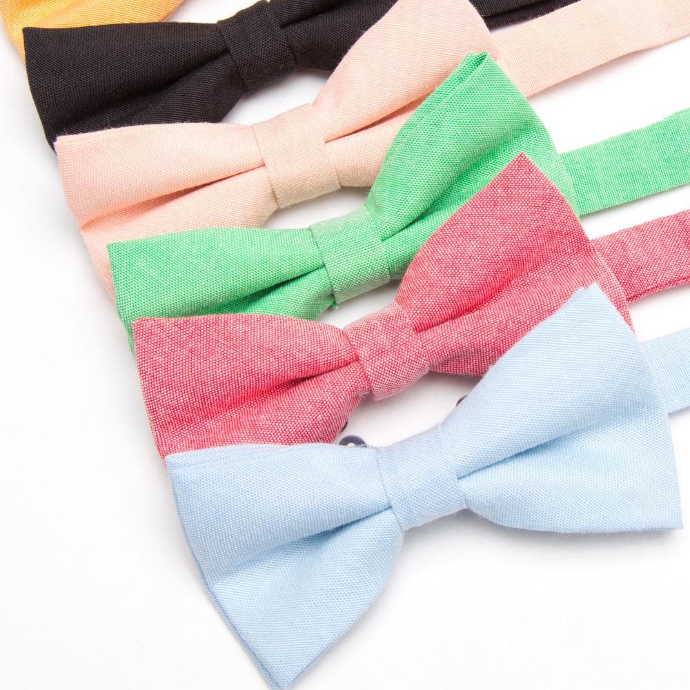Bowtie 100% coton teint clair solide Bow Tie Party Accessoires cadeau Hommes réglable papillon de mariage formel