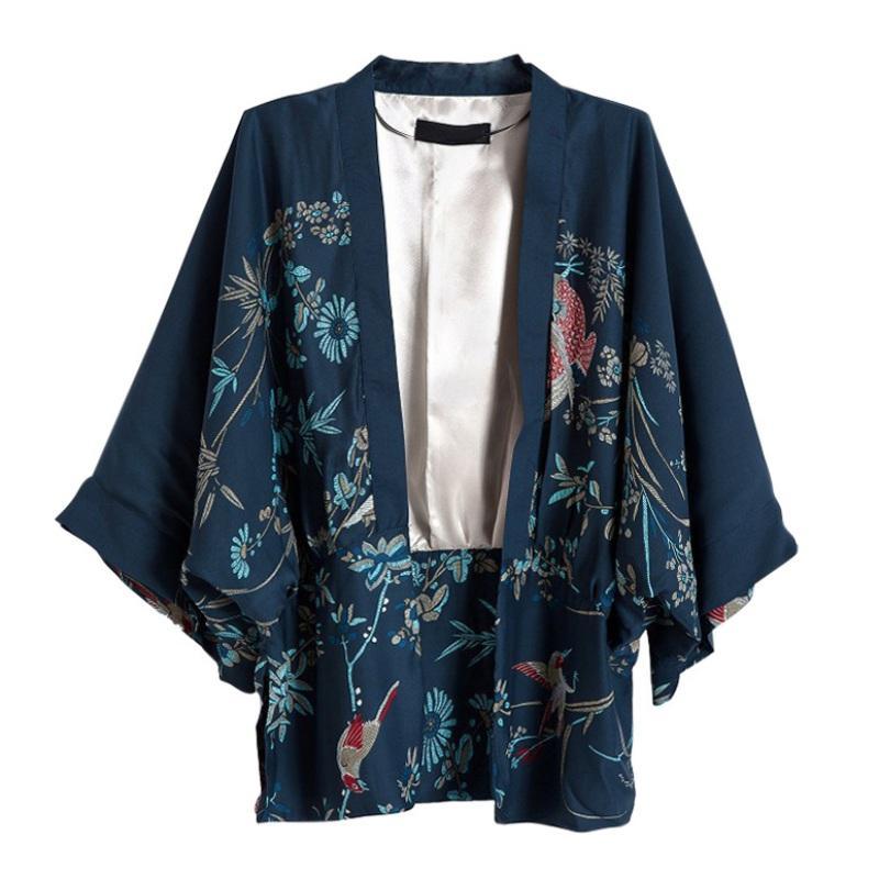 Harajuku Женщины Японских Кимоно Printed Bat рукав Свободный Кардиган Блуза