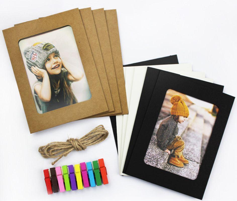 جديد إطار ورقة المختلط مع كليب و2.2M حبل 6 بوصة جدار إطار الصورة DIY المعلقة ألبوم الصور الرئيسية Decoration10pcs / مجموعة