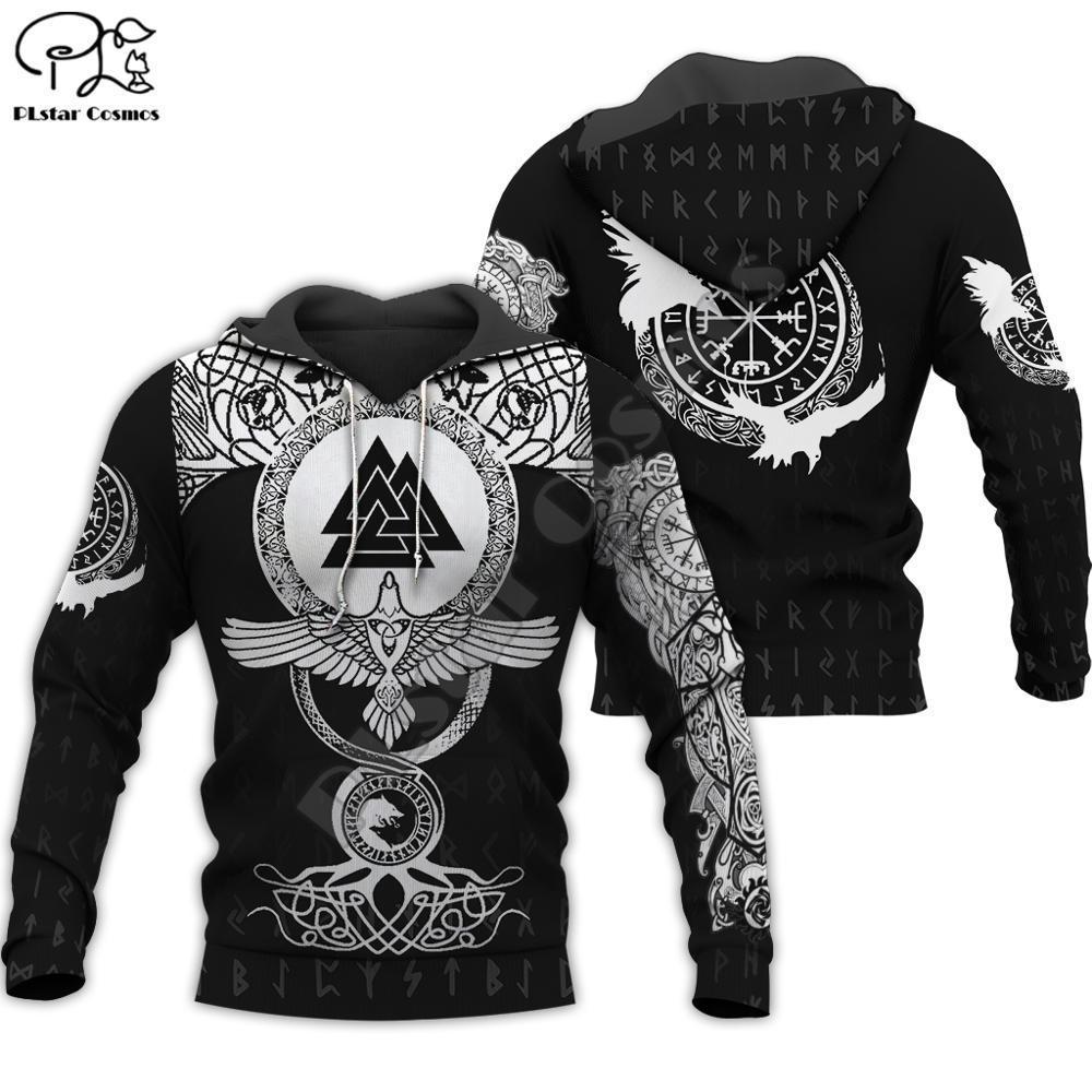 PLstar Cosmos Viking savaşçı Dövme Yeni Moda Eşofman gündelik Renkli 3D Hoodie / Kazak / Ceket / Erkek Kadın s10 Y200704 yazdır