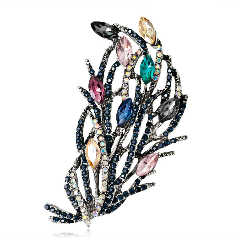 Personality creativity Korean version of retro high-grade flower brooch alloy electroplating ancient gold ancient silver diamond lady corset
