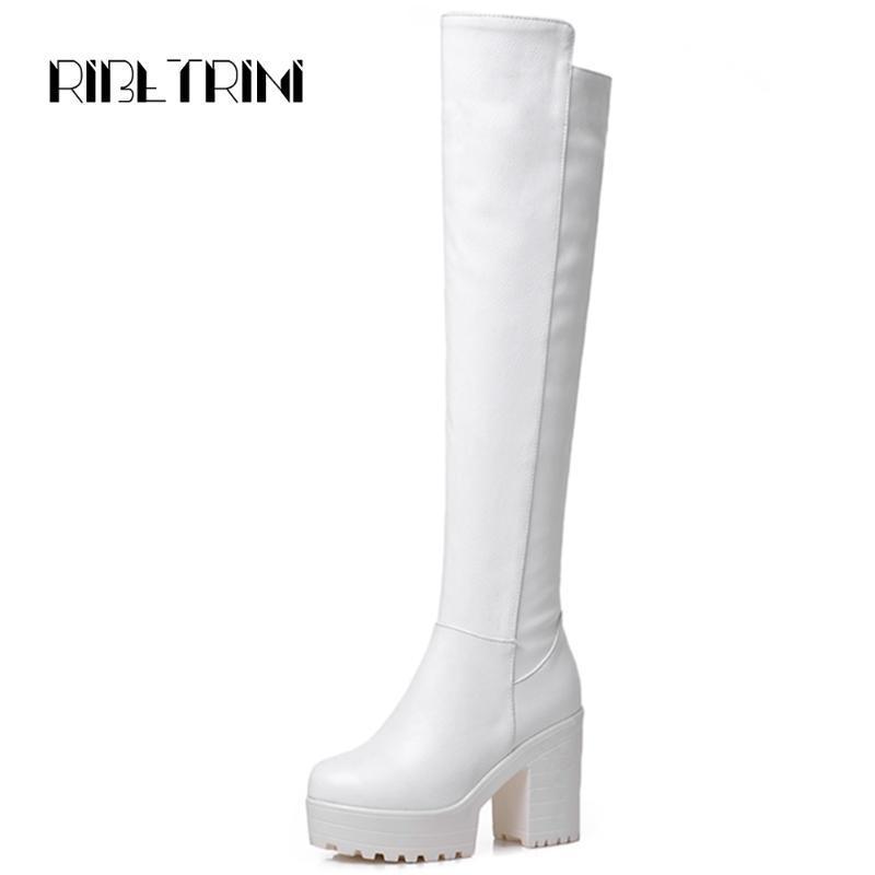 RIBETRINI Big Size 33-43 Salto Feminino Chunky alta sobre o joelho Sapatos Moda Mulher Platform botas altas da coxa Mulheres Zip Botas