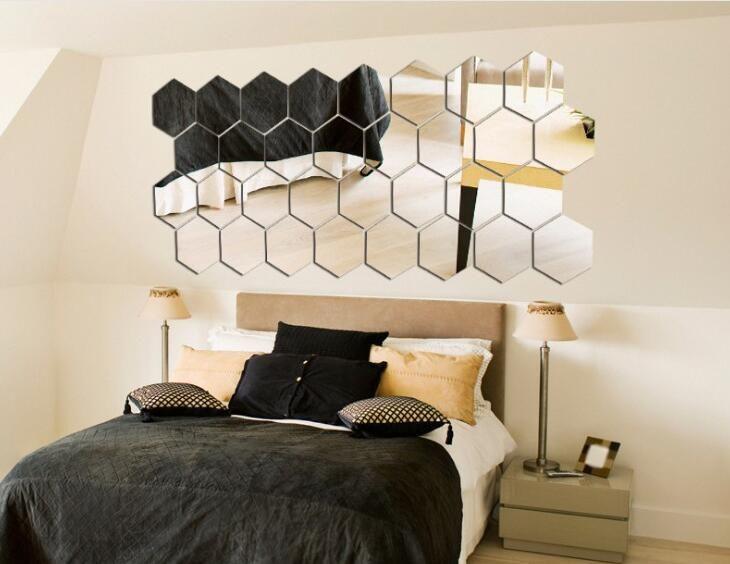 36 قطع جدار مرآة الاكريليك diy مسدس إزالة تقليد الزجاج مرآة ملصقا المنزل نوم غرفة المعيشة الديكور مرآة صائق جديد 9.2 سنتيمتر