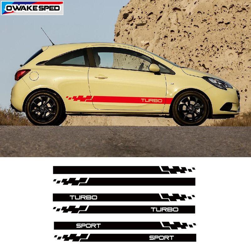 vente en gros Sport Stripes Car Décor décalque de vinyle du corps pour Opel Corsa 3-5 Portes côté jupe Sticker Racing Styling Auto Accessoires