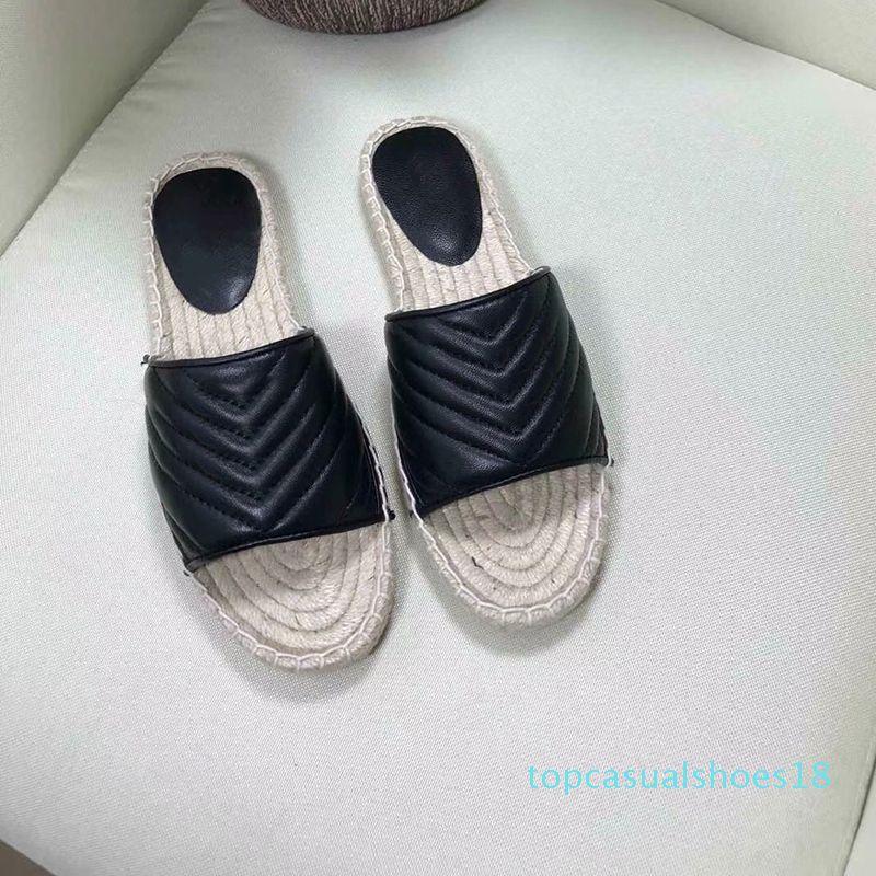 Femmes Designer Cuir Espadrille Sandal luxe Slipper Flat Plate-forme Chaussures Avec la plage Double Métal Weave Chaussures 4 Couleur Taille 4-10 T18