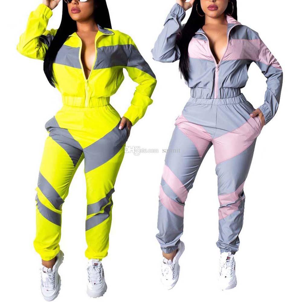 2 Pants Pedaço Define Outfits Mulheres Corredores 2 Piece Treino motociclista Set sweatsuits Two Piece Set Top e calças F0575 manga comprida