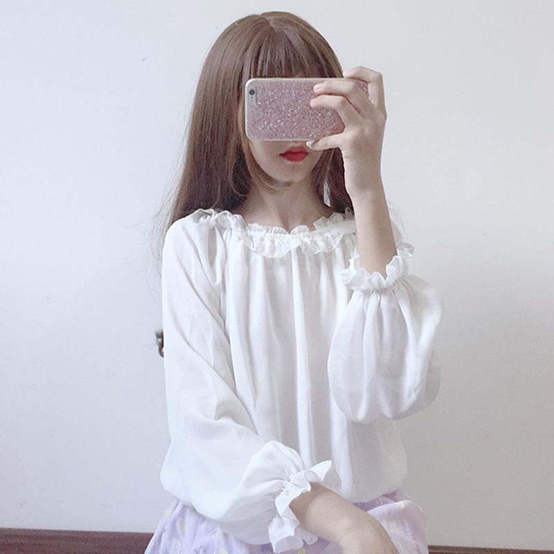 Frühlings-Damen Lolita Bluse Neue japanische wilde süße Spitze Laterne lose Ärmel oben Frauen Harajuku lange Chiffonhemd Hülse Y200103