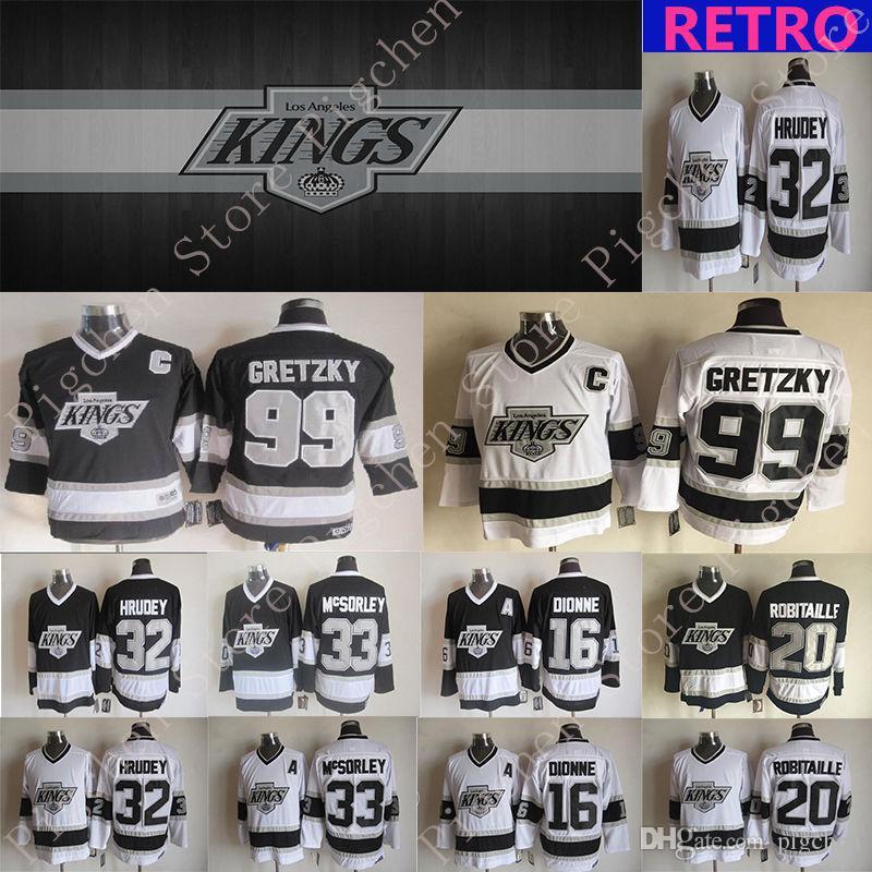 Los Angeles Kings Vintage version jerseys 99 GRETZKY 32 HRUDEY 33 MCSORLEY 16 DIONNE 20 ROBITAILLE CCM Hockey jersey