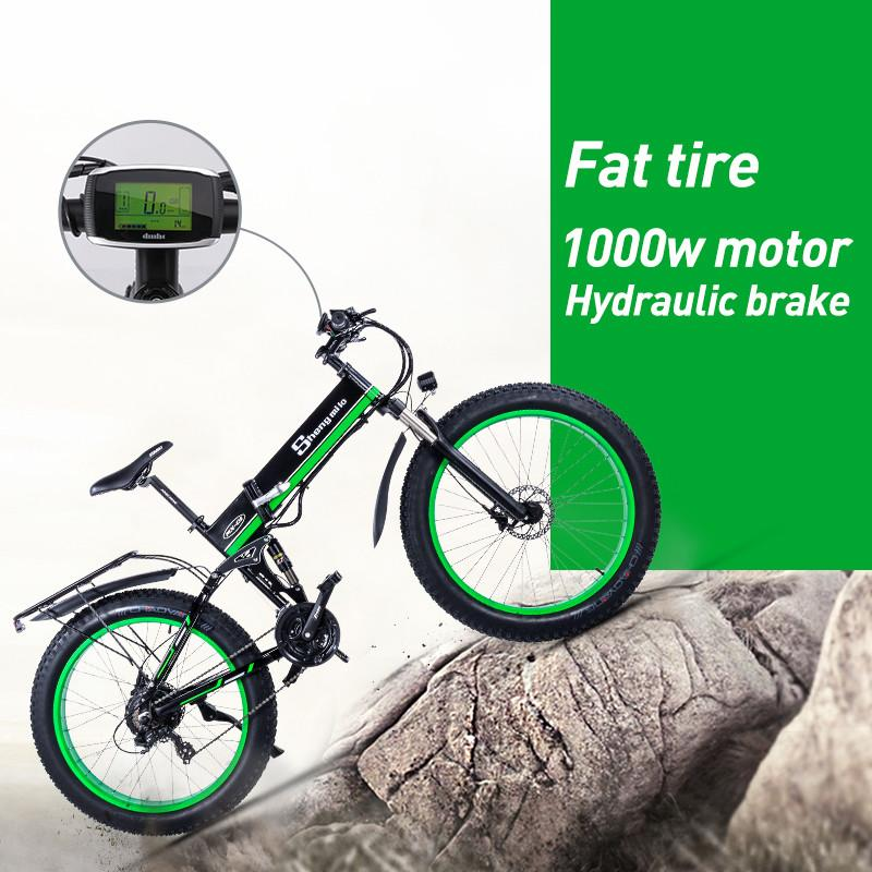 1000w 48v electric bike Fat tire folding scooter adult electric bicycle lithium battery bike ebike mountain snow