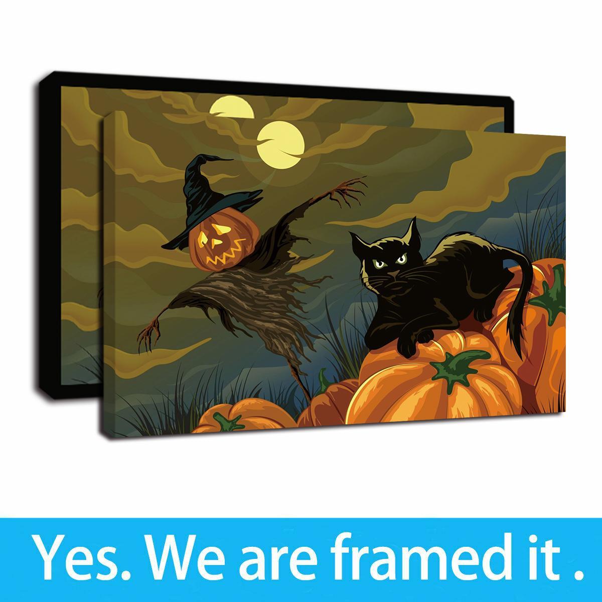 Pintura negro Luna del gato calabaza de Halloween Noche enmarcó impresiones del arte de la pared de pared Sus obras de arte Cuadros para la decoración del dormitorio sala de estar