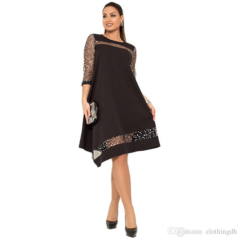 Vestido de lentejuelas de gran tamaño de las mujeres vestido brillante negro con lentejuelas Sundress verano vestidos de gran tamaño de malla de ropa de mujer