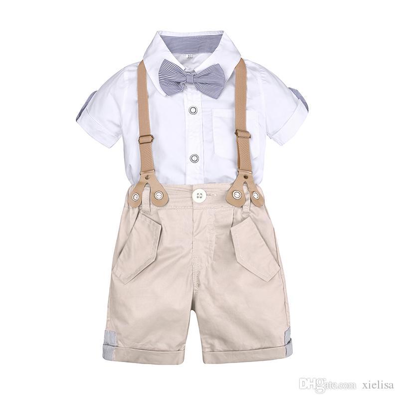 L'abito da ragazzo Set di vestiti per i bimbi estivo kit per bambini Shorts Camicia da 1 a 4 anni vestiti per bambini Abiti da sposa formale