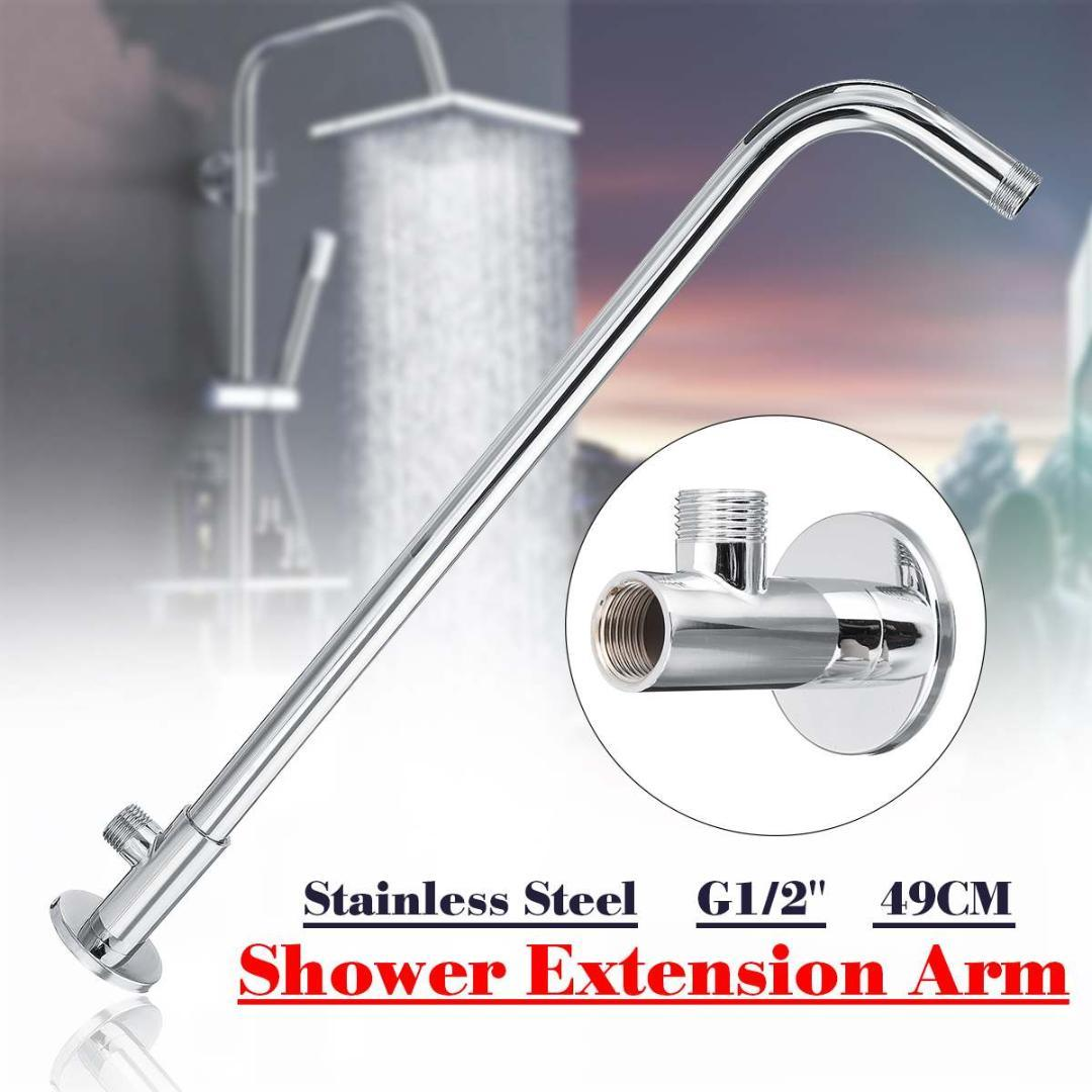 2019 49cm G1 2 Wall Mounted Shower Extension Arm Angled Extra Pipe Stainless Steel Hose For Rain Shower Head Bathroom Accessories From Linita 22 8