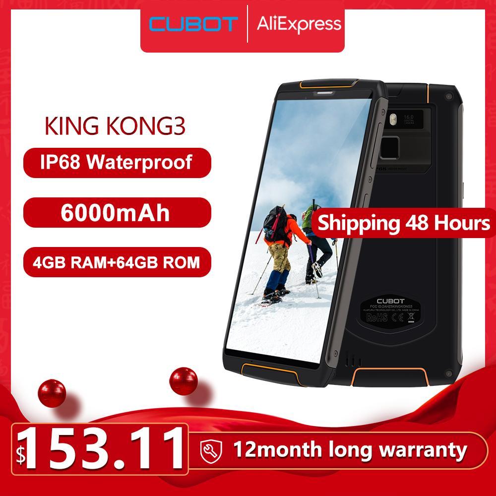 Cubot King Kong 3 IP68 Su geçirmez RuggedPhone NFC 6000mAh Büyük Pil Android 8.1 4GB + 64GB C Tipi FastCharge OctaCore KingKong 3