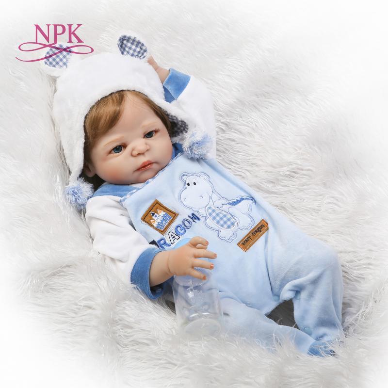 NPK 23 inch White skin Baby Dolls Realistic Full Silicone Vinyl Alive Girl Reborn Baby Doll For Children Gifts bonecas reborn Y200111