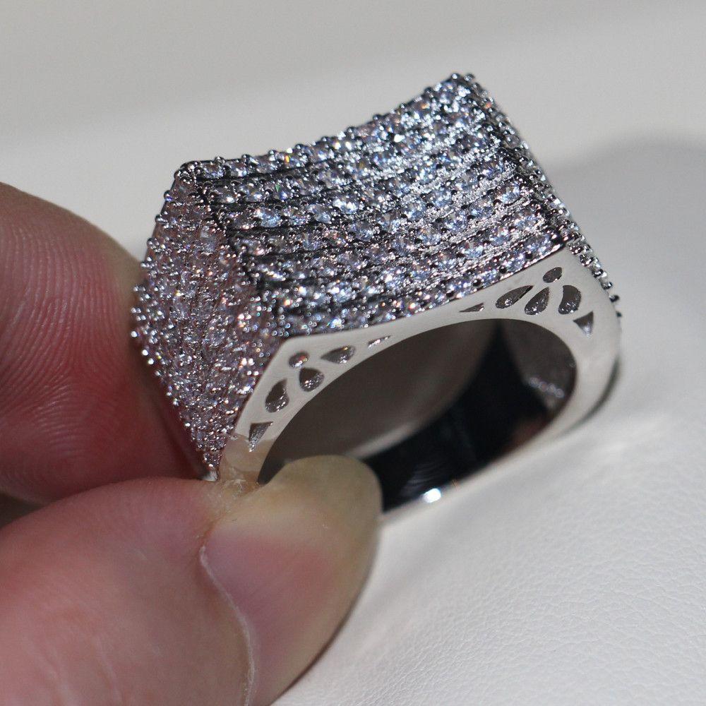 Vecalon 수제 158pcs 토파즈 시뮬레이션 다이아몬드 Cz에 여성 웨딩 밴드 10KT 화이트 골드 여성 Sz를 5-11을위한 약혼 반지를 가득