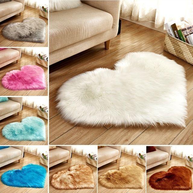Love Heart Rugs Artificial Wool Sheepskin Hairy Carpet Faux Floor Mat Fur Plain Fluffy Soft Area Rug Tapetes Non-slip Chair Mat D19010902