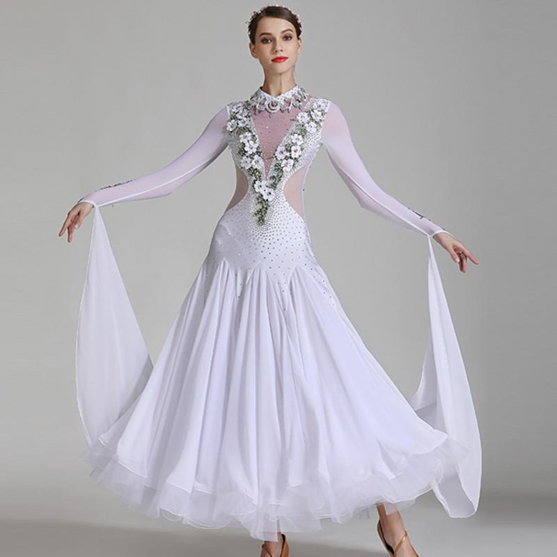 plus size ballroom dance costume rumba dress dance competition costume foxtrot dress white ballroom tango