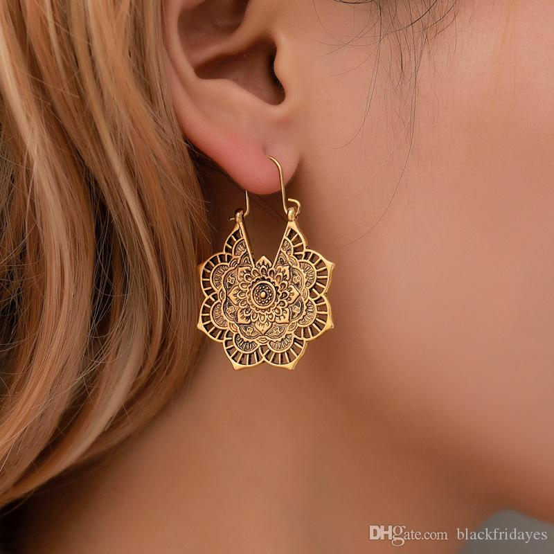 2019 Ethnic Style Earrings Exotic Vintage Metal Hollow Flower
