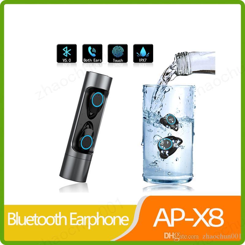 Сенсорный TWS X8 Bluetooth 5.0 Беспроводные наушники Водонепроницаемый IPX7 гарнитура с зарядки Box для Xiaomi IPhone Huawei