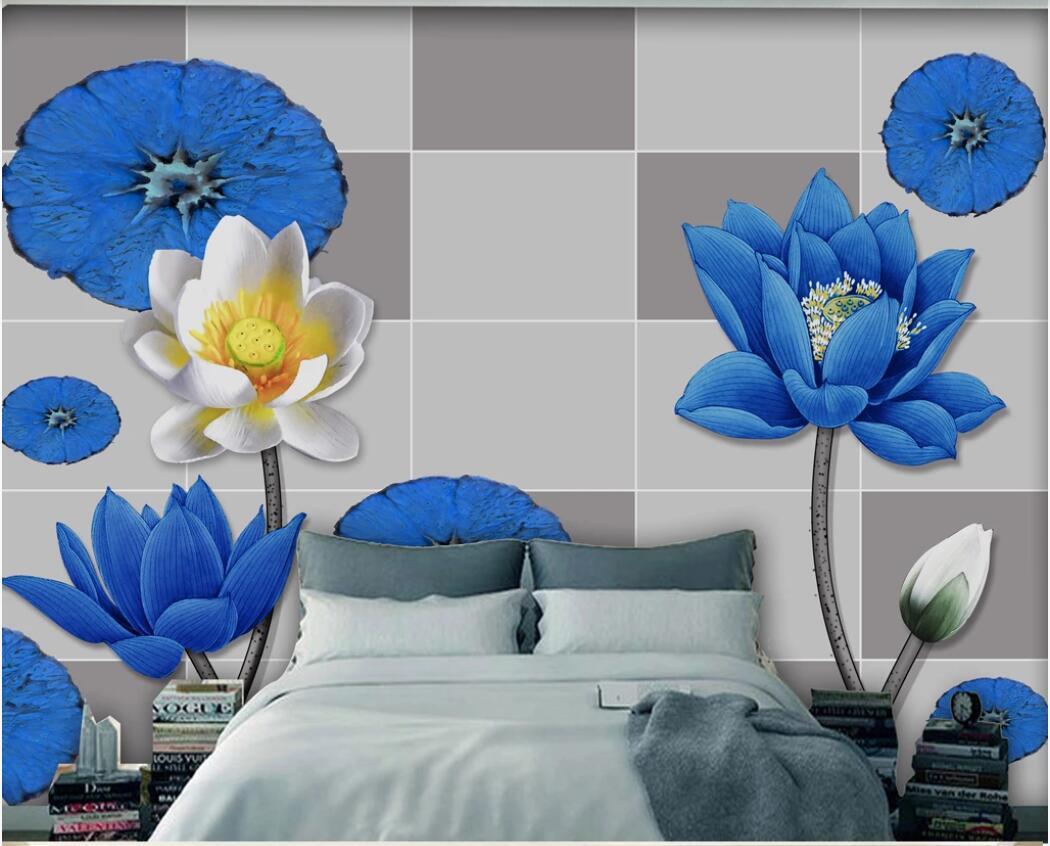 fotomurales personalizados fondo de pantalla 3d decoración de la pared de fondo de loto azul pintar la pared del arte fotos