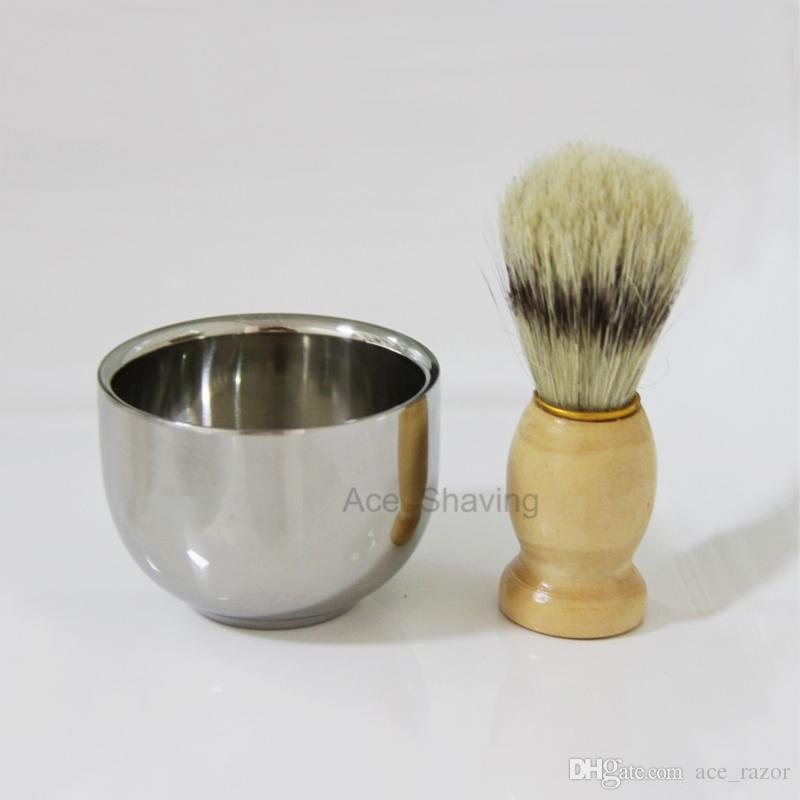 Stainless Steel Shaving Bowl Wood Handle Boar Bristle Hair Barber Beard Wet Foam Lathering Brush