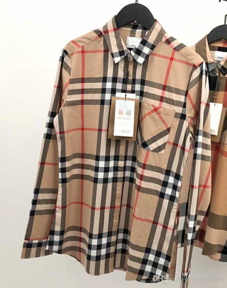 TB sac montre Plaid kaki hommes occasionnels et le coton créateur de mode chemise des femmes