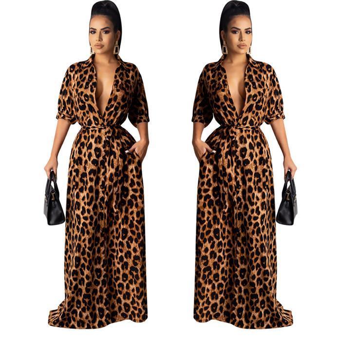ماكسي فساتين الخريف V الرقبة نصف كم جنسي أنثى الملابس أزياء نمط عارضة الملابس النسائية ليوبارد انن
