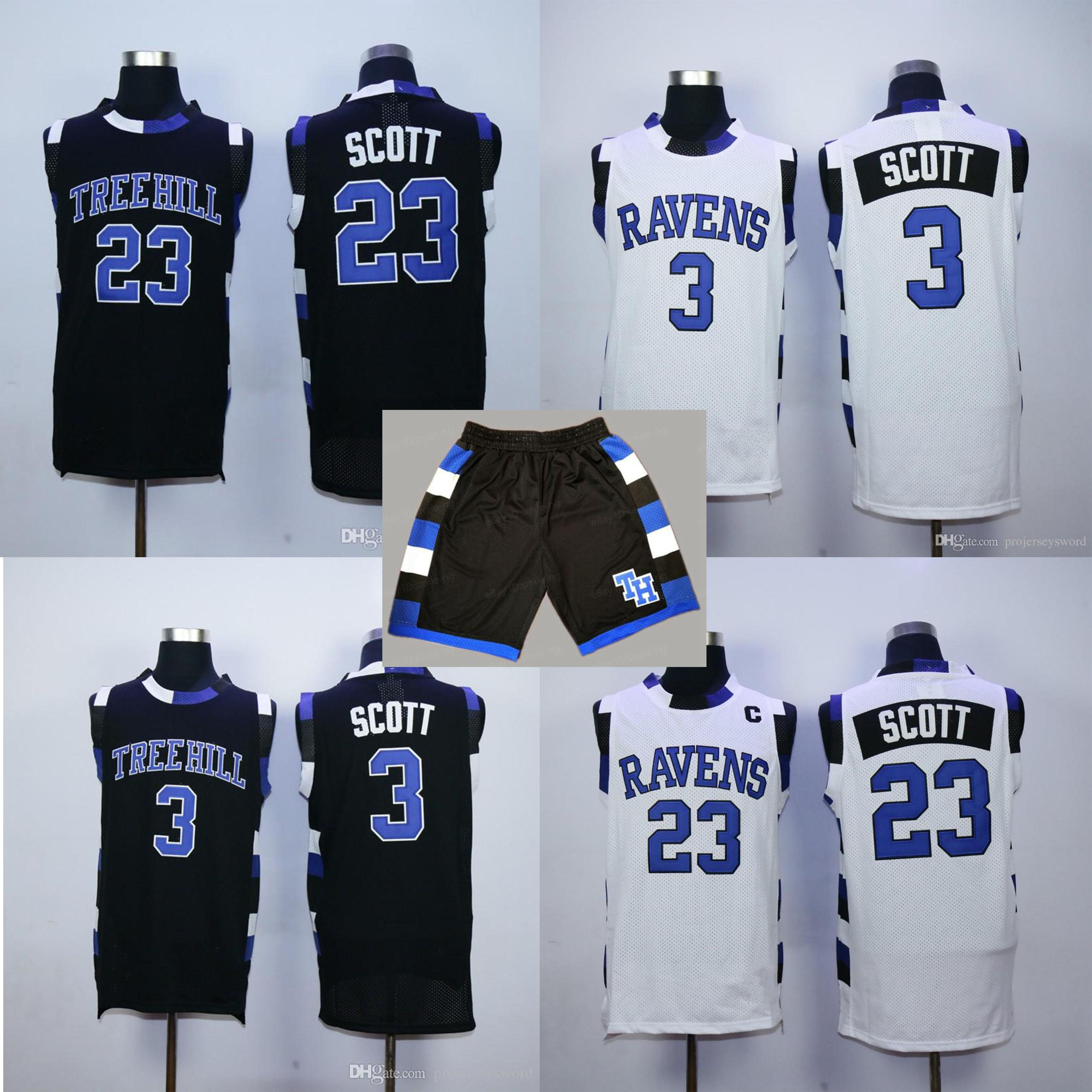 One Tree Hill Ravens # 23 Nathan Scott # 3 Lucas Scott Trikots Weiß blau schwarz Mens Stickerei Basketball Shirts S-XXL Jersey shoets