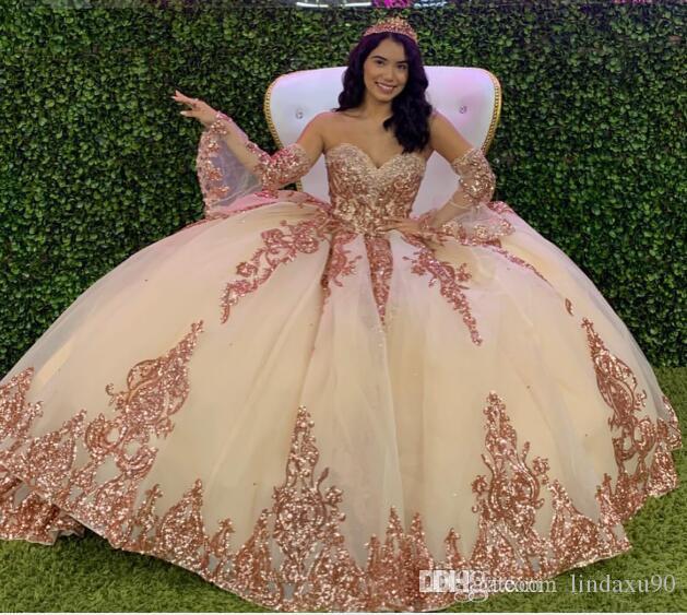 분리 가능한 긴 소매 연인 레이스 Appliqued 비즈 저녁 파티 달콤한 (16 개) 댄스 파티 드레스 (2020) 볼 가운 성인식 드레스
