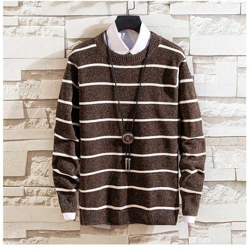 Suéter dos homens 2021 Moda Marca Camisola Mens Pulôver Listrado Slim Fit Jumpers Knitred Woolen Outono Estilo Coreano Casual Roupas