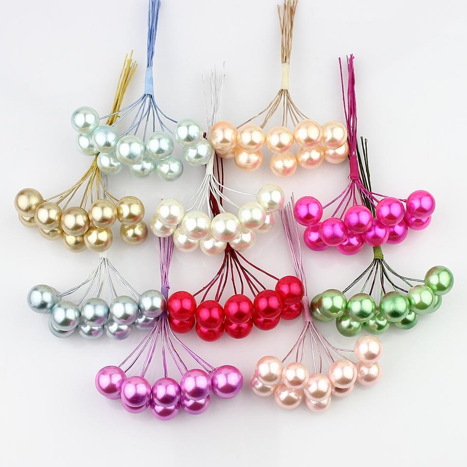 20 piezas 12mm Pequeñas Bayas Artificiales Flor Espuma perla estambres cereza para la Boda Decoración de Navidad C18112601