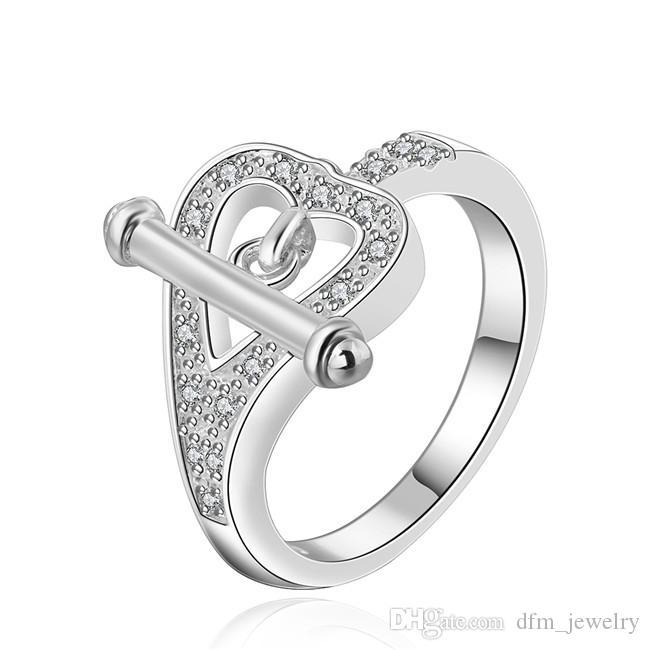 spedizione gratuita! Placcato in argento Cuore anello zircone a forma di sterline dimensioni DJSR470 US 8; piatto d'argento 925 femminile con gioielli pietre laterali Anelli