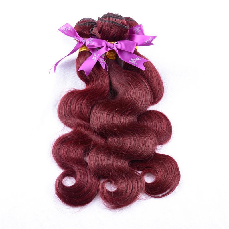 أعلى درجة vip جمال الشعر رخيصة 99j العذراء البرازيلي الجسم موجة الشعر التمديد 3 قطع النبيذ الأحمر 99j الشعر بورجوندي نسج 8-32 بوصة 100 جرام / ps