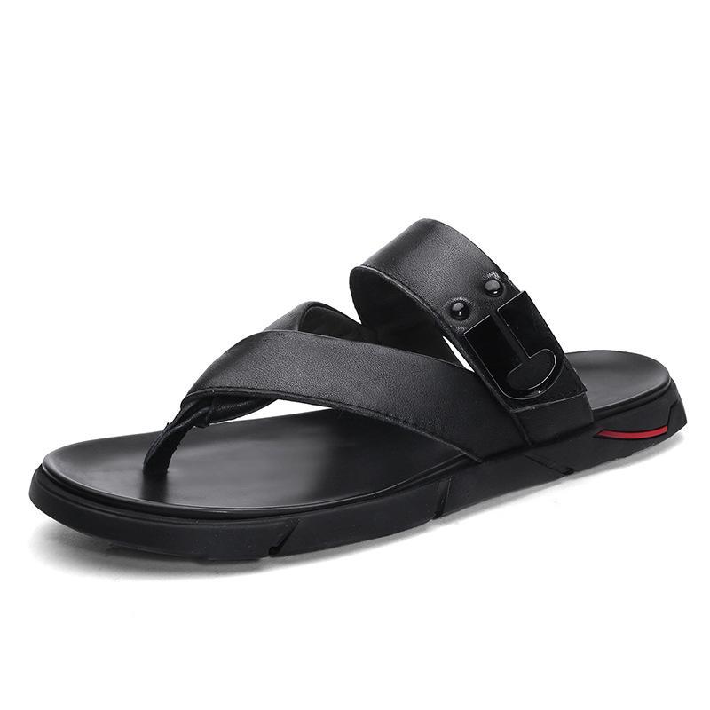 2020 neue Art-echtes Leder Flip Flops Männer Sommer Outdoor Cooler Hausschuhe Schwarz Braun Slides Strand-Schuhe Männer