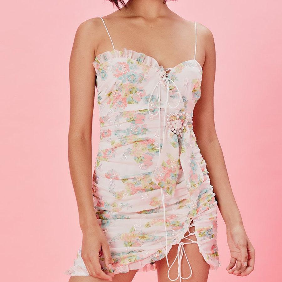 2019 nuevas mujeres de moda sexy mini vestido estampado de flores vestidos de vacaciones y vocación mujeres bordado vestido de verano de cintura alta