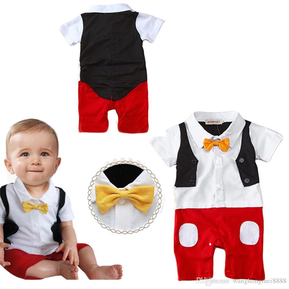 Горячая новорожденный 3 6 9 12 18 24 месяцев младенческой мальчик хлопок галстуки-бабочки маленький джентльмен отложной воротник фото реквизит комбинезон наряды
