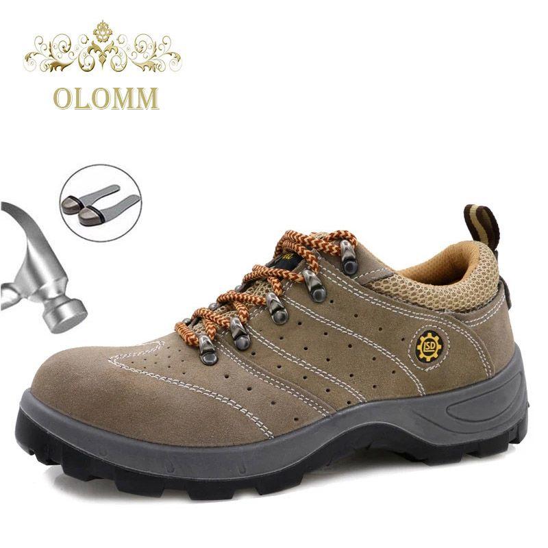 Zapatos de acero con tapa de los hombres de piel transpirable seguro de trabajo zapatos anti-pinchazo hombres de punción sitio de trabajo protectora