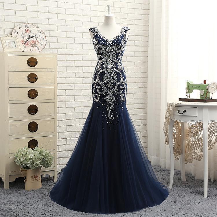 2020 Crystal/Beading Navy Heavy Beaded Evening Dresses Heavy Manual Halter V Collar Long Tail Yarn Dance party Dresses Mermaid Prom Dresses