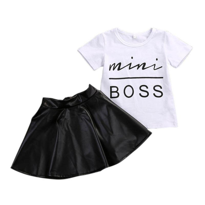 Toddler Kids Girl Clothes Set Summer Short Sleeve Mini Boss T-shirt Tops + Leather Skirt Outfit Child Suit