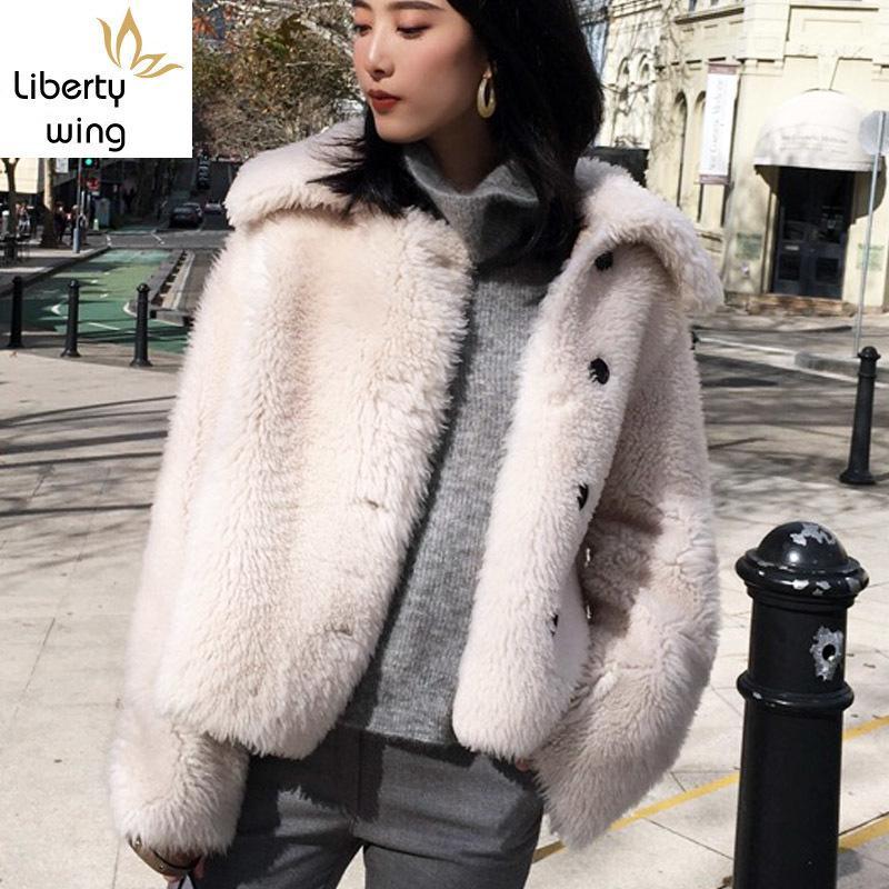 Kore Stil Bayan Merinos Koyun Çift yüzlü Coat 2020 Sonbahar çevirin Aşağı Yaka Kısa Kürk Ceket Kadın Campera Mujer