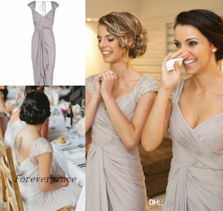 2019 Elegant Chiffon Pleats Cap Sleeve Beach Summer Bridesmaid Dress Backless Sheath Wedding Guest Maid of Honor Gown Plus Size Custom Made